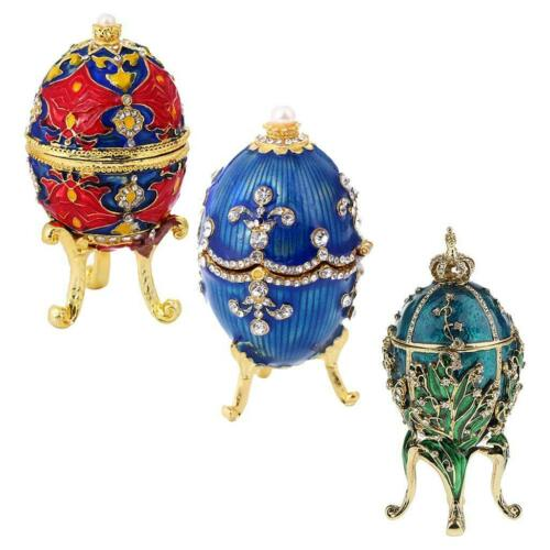 3pc Enamel Faberge Easter Egg Jewelry Box Wedding Ring Storage Container