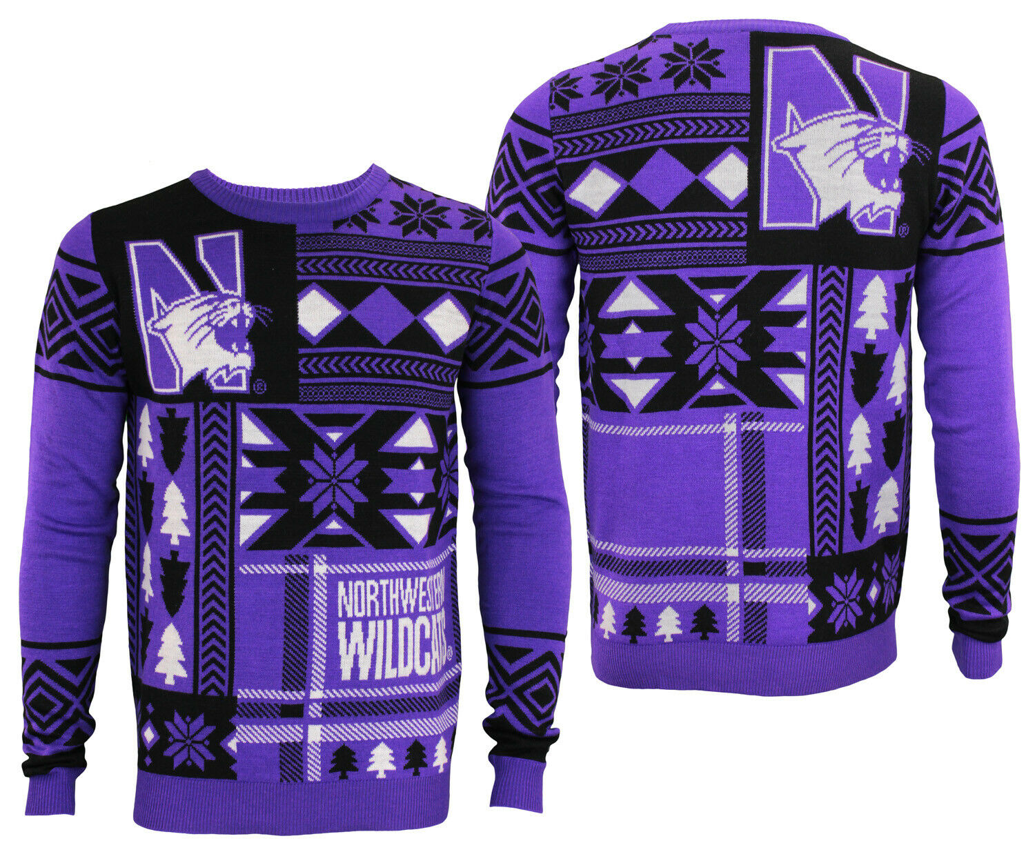 Nortwestern University Wildcats NCAA Mens Holiday Ugly Sweater, Purple