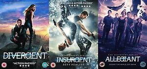 Details about Divergent Insurgent Allegiant Trilogy All 3 Movie Film Triple  New R2 UK DVD Pack
