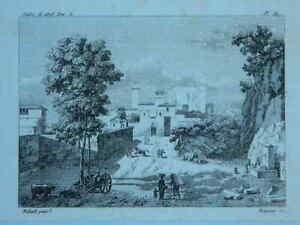 Grabado Vista De Entrada de Una Ciudad Italia Joseph Bidault, Baugean 1808