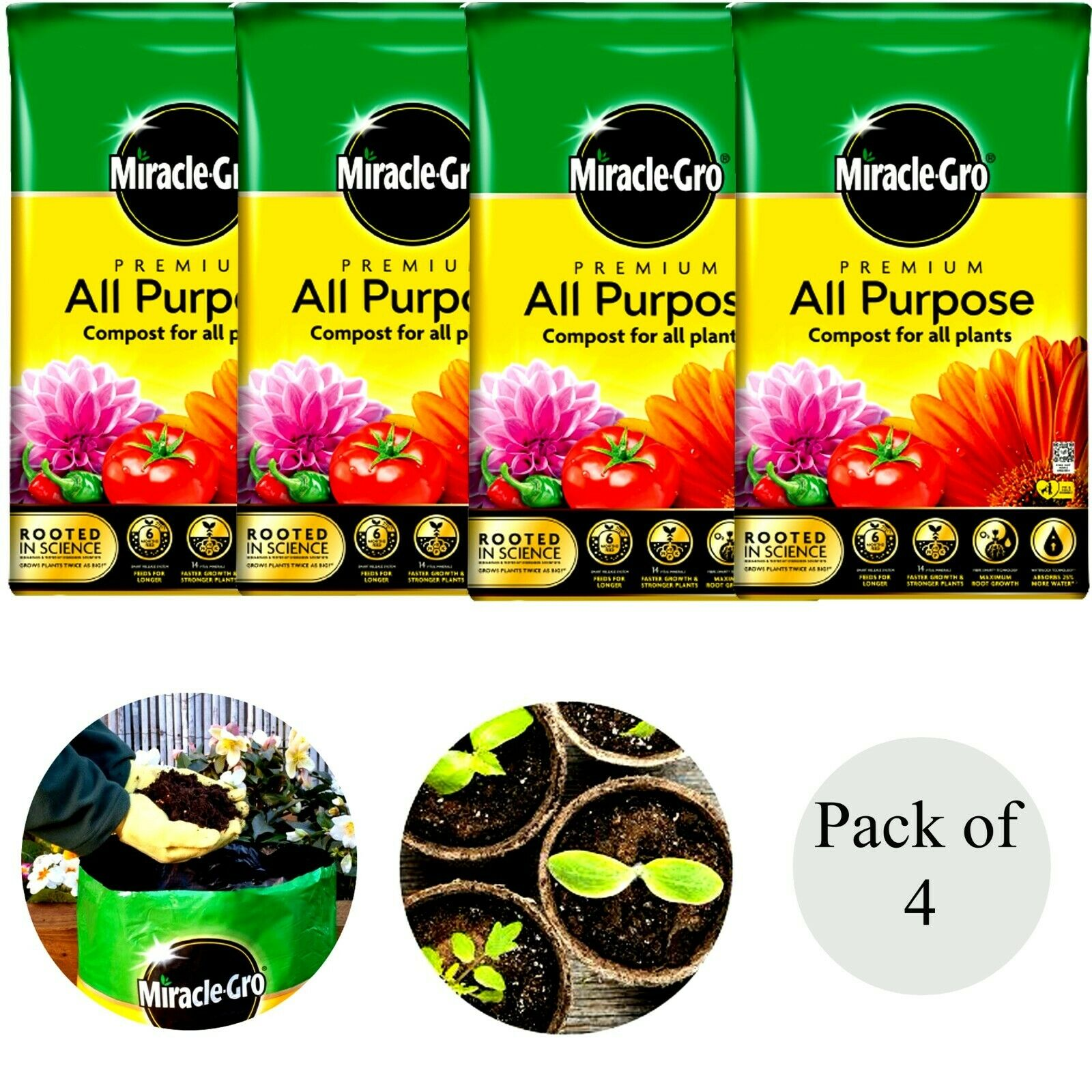 4x Miracle Gro All Purpose Compost Soil Food Growing Food Plant Garden Lawn 40L