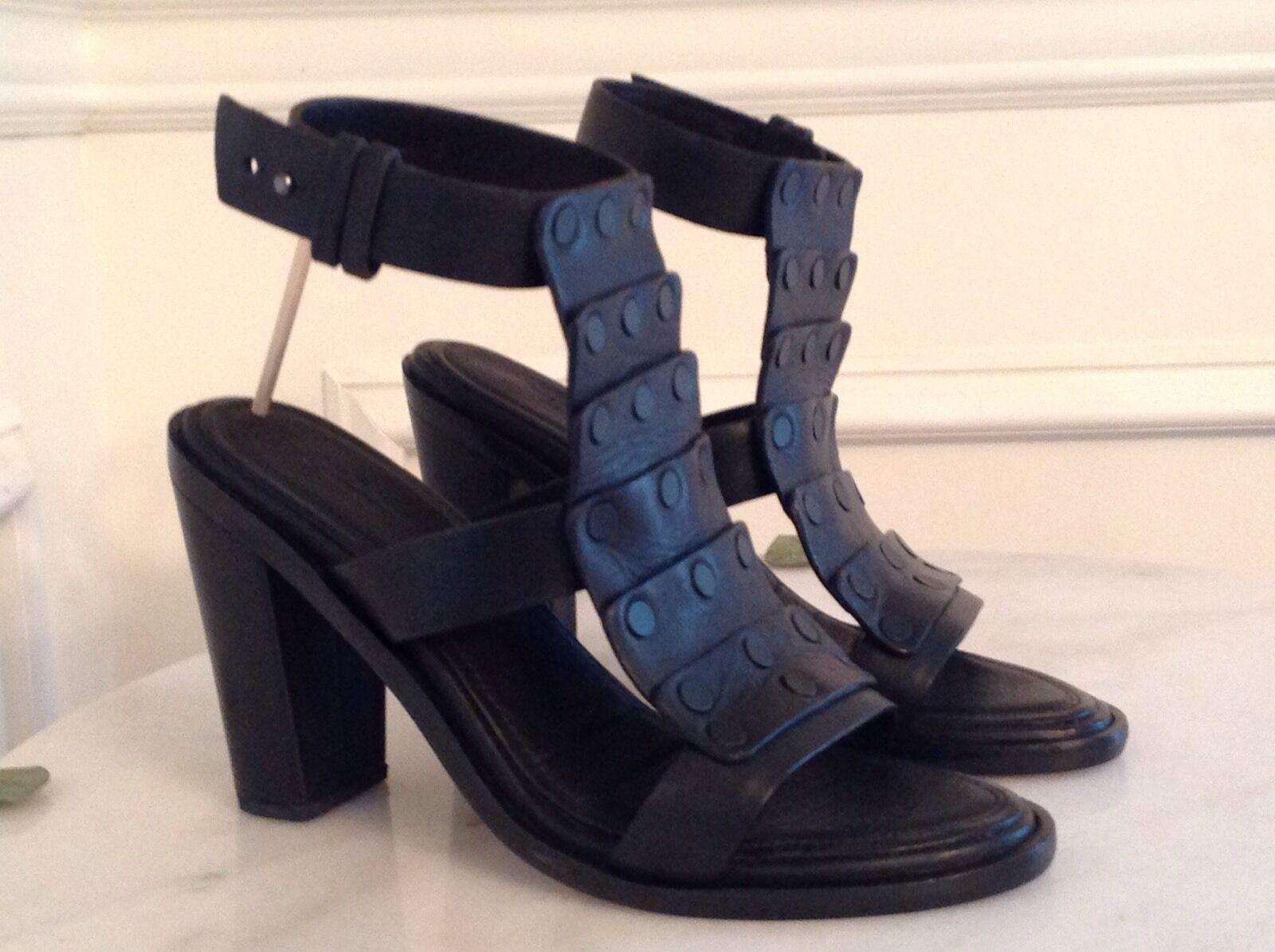 NEW Rag & Bone Black Deane Leather Ankle T-Strap Sandals Size 35