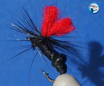 Free Fly Box w// 20 Black Red NYmph Trout Flies Fly Fishing DRY HOOK 10# L10-6