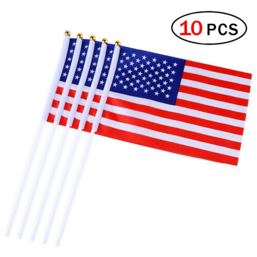 10pcs Mini Hand Flag America Flag Stick Flag Round Top National Country Flags