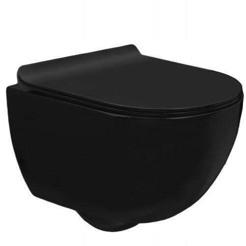 WC Toilette Wandhänge Randloss Softclose Keramik 37x37x48 CARLO SCHWARZ MATT