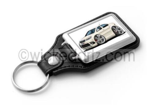 RetroArtz Cartoon Car Skoda Octavia vRS in White Classic Key Ring