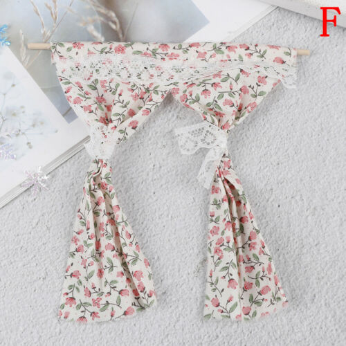 Dollhouse miniatures lace pink curtain for 1//12 scale dollhouse furniture decor