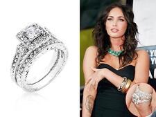 3.9 Ct CZ Art Deco Style Princess Halo Pave Wedding Engagement Ring Set Size 6