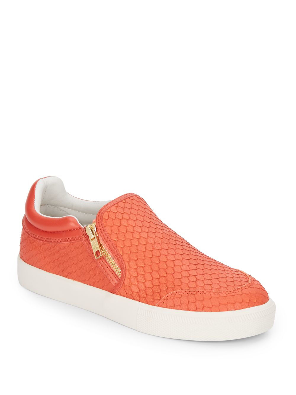 ASH Intense Embossed Leather Slip-on Sneakers, Coral SIZE 37