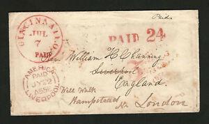 Cincinnati 1855 Trans-Atlantic Stampless To England, Liverpool Forwarded London