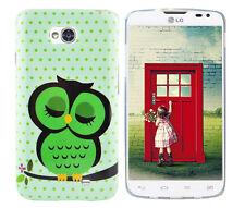 Hülle f LG L70 D320 Schutz Case Cover Tasche Etui Bumper Silikon TPU grüne Eule