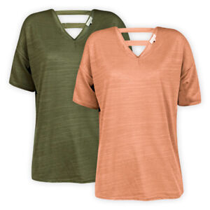 Womens Ladies V-Neck Casual Top Green Pink Short Sleeve T-Shirt Blouse Size S-XL