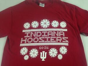 2039ca2ebd Indiana Hoosiers T-Shirt Ugly Christmas Sweater Style Snowflakes Go ...