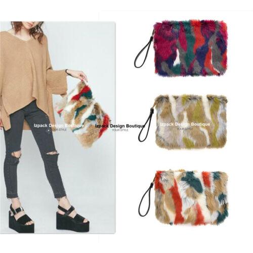 Designer Multi color Faux Fur Run way Clutch trendy Fur Bag Wristlet