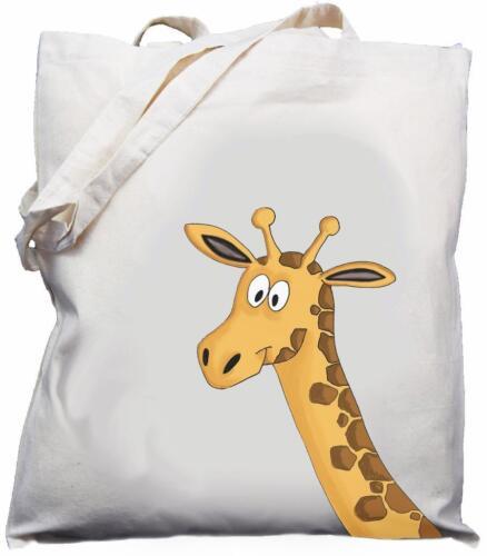 Cream Giraffe Head Design Natural Cotton Shoulder Bag // Tote // Shopper