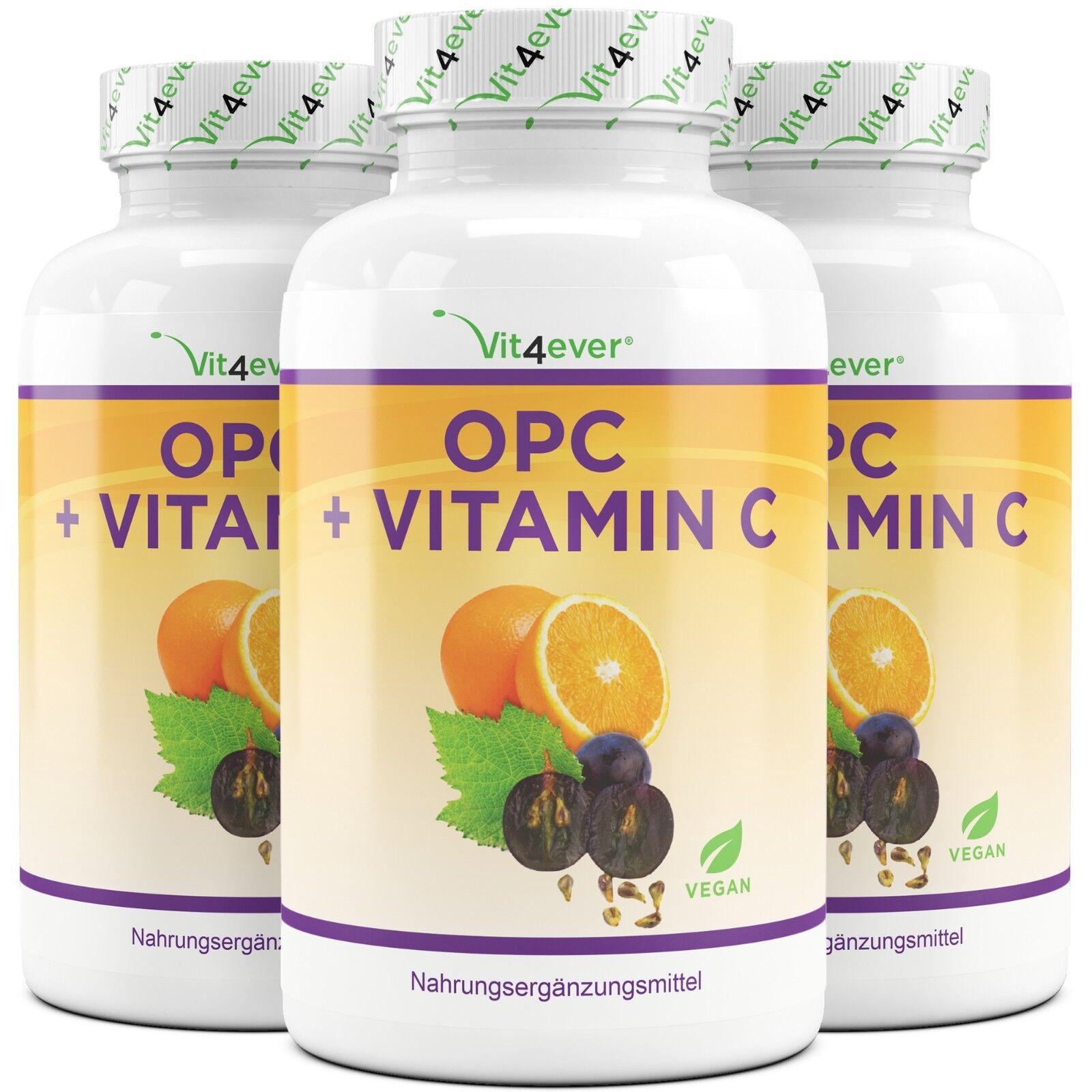 3X OPC C 1200 + Vitamin C OPC = 540 Kapseln - 600 mg - Traubenkernextrakt bis 95% OPC 635b38