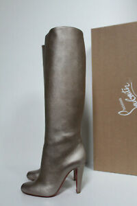 0403a3311c9 Details about New sz 9 / 39 Christian Louboutin Marmara Gold Metallic  Leather Tall Boot Shoes