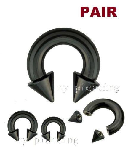 Paar Schwarz PVD Beschichtet Stahl Innen Gewinde Spikes Hufeisen Ohr /& Septum