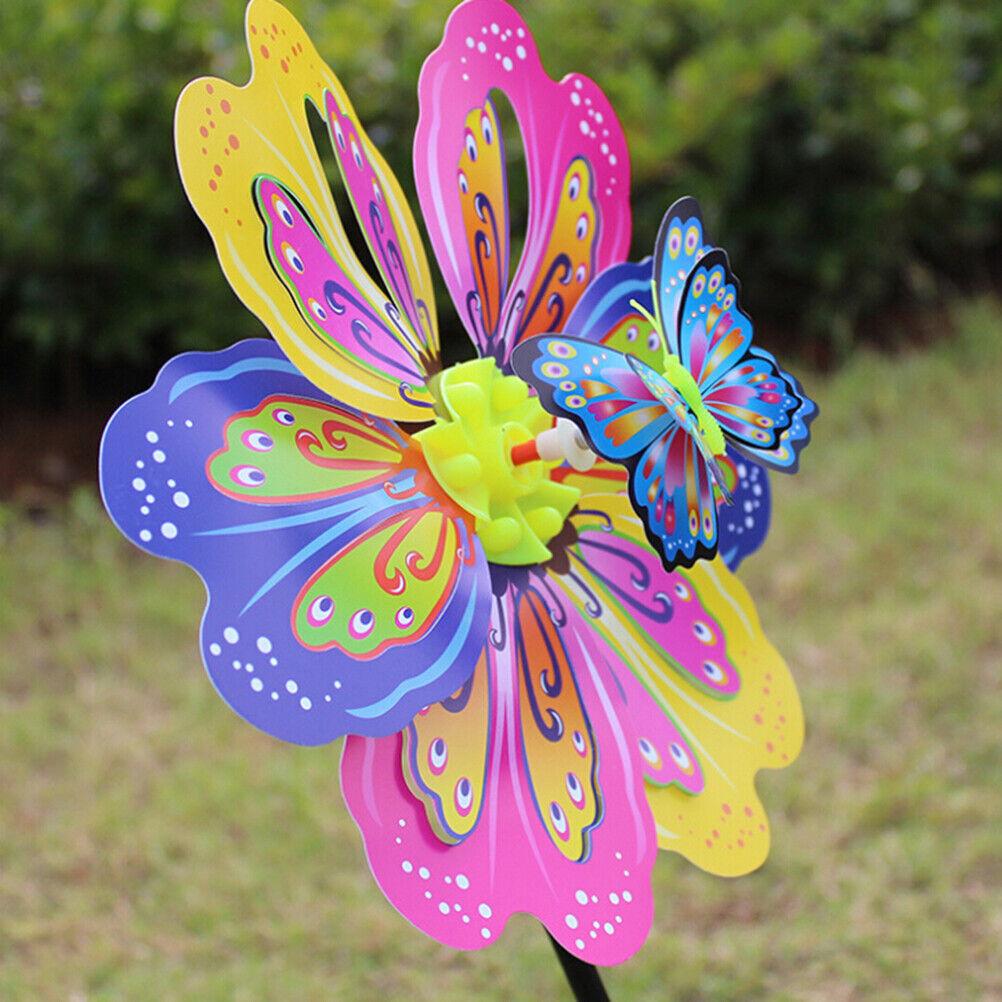 Butterfly Flower Windmill Colourful Wind Spinner Garden Yard Decoration Kids_ti