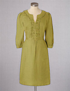 9bfb2937bd0 BODEN Linen Pleat Notch Neck Dress UK Size 10 R   BNWT   Rare NEW ...