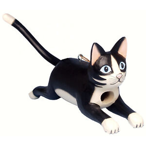 POUNCING BLACK & WHITE TUXEDO CAT BIRD HOUSE - CAT BIRDHOUSE - GARDEN DECOR