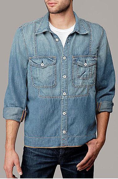 7 For All Mankind Men Medium WBU bluee Denim Utility Button Down Shirt M