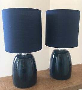 Details About Pair Of Small Navy Dark Blue Ceramic Table Lamps Lights Bedside Bedroom Mains