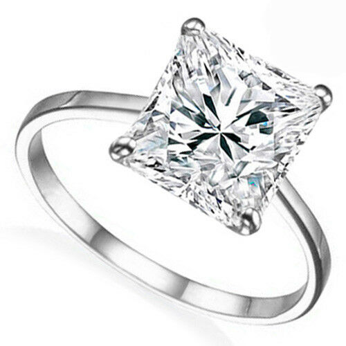 14K Solid White gold 1.85 Ct Diamond Princess Cut Solitaire Engagement Ring