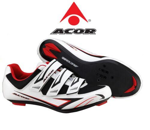 ACOR VÉLO DE ROUTE Cycle Cyclisme Chaussures Blanc Noir Léger Taille UK 5 6.1//2