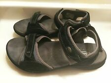 CLARKS Wave Sandals Black Tan Leather Canvas Shoes Women's  Size 9.5M