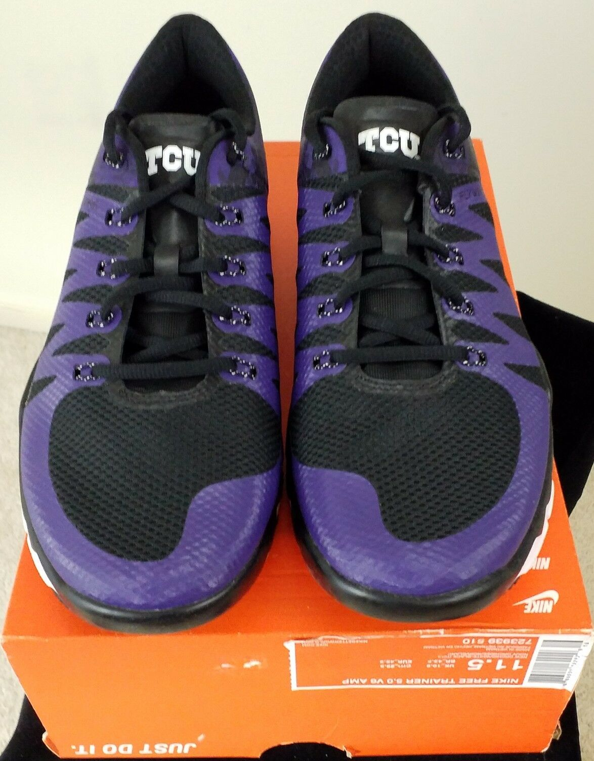 Nike Free Trainer 5.0 V6 AMP (TCU) HORNED FROGS TEXAS Size 11.5 Men's shoes NIB
