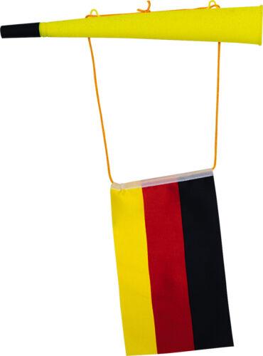 Große WM Troete 36 cm mit Fahne schwarz rot gold Deutschland 00654