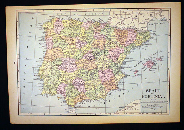 Map Of Germany For Sale.Antique Map 1925 Spain And Portugal Or Germany