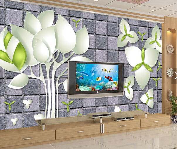 3D Weiß Flowers Lattice 58 Paper Wall Print Wall Decal Wall Deco Indoor Murals