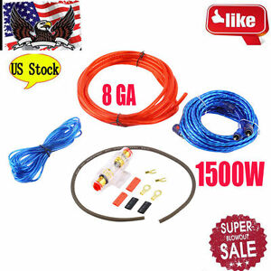 1500W 8GA Car Audio Subwoofer Amplifier AMP Wiring Fuse Holder Wire Cable Kit BP