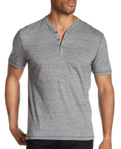John Varvatos Star USA Men/'s Short Sleeve 3 Snap Henley Pullover Shirt Mercury