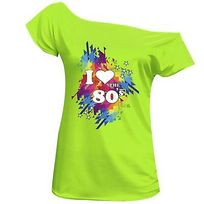 I Love 80s TShirt Top 80's Ladies Off Shoulder Disco Retro Festival 6016455® Lot
