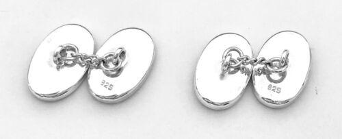 Plata esterlina 925 Negro Onyx Piedra Clásico Cadena Enlace Gemelos Con Forma Ovalada