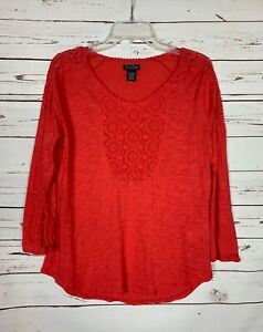 Lucky-Brand-Women-039-s-L-Large-Coral-Red-Lace-Long-Sleeve-Knit-Fall-Top-Shirt-Tee
