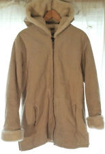 GENUINE LEATHER HEAVY Brushed Women's Hooded Winter Coat Jacket Sz M Biege