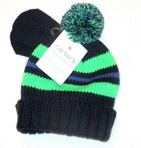 f4a229e50 Carters Boy Hat Gloves Set Knit Beanie Sz 9 18 Months Blue Green ...