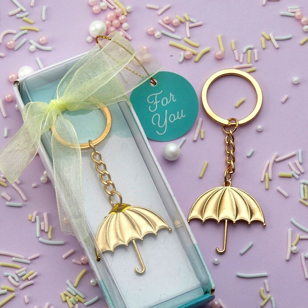 144 Molded Gold Umbrella Metal Key Chain Baby Shower Sprinkle Gift Party Favors
