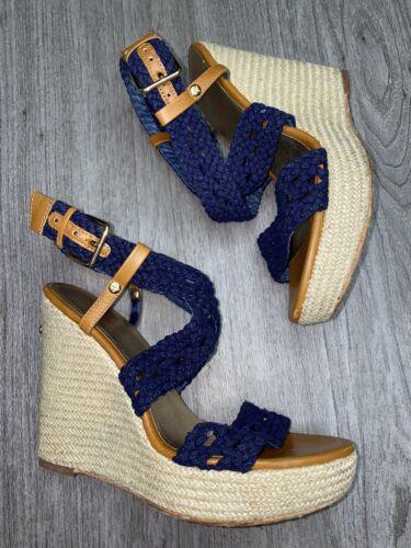 Lilly Pulitzer navy Wedge Espadrille Sandals 6.5 L