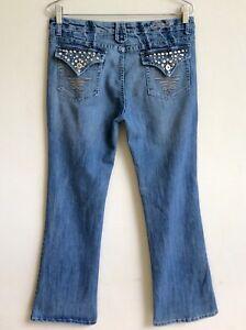 FOREVER-21-Blue-Jeans-Size-15-16-Boot-Cut-Mid-Rise-Embellished-Flap-Back-Pocket