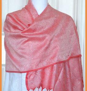Banaras-Silk-Salmon-Red-Color-Woven-Paisley-Floral-Design-Stole-Wrap-Shawl