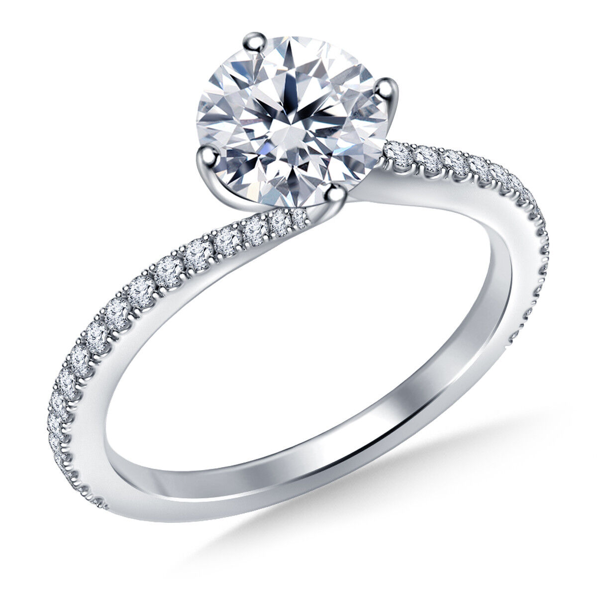 1.00 Ct Bridal Diamond Engagement Ring Hallmarked 18K White Fine gold Size 6 7 8
