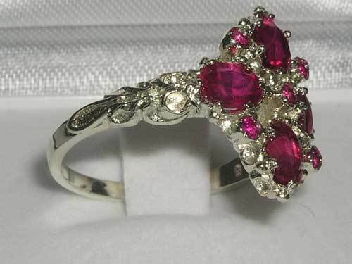 Luxury Ladies Victorian Style Solid Hallmarked 925 Sterling Silver Ruby Ring