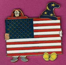 Disney Fantasy pin SORCERER & FIREMAN With UNITED STATES FLAG Pin  9/11 TRIBUTE