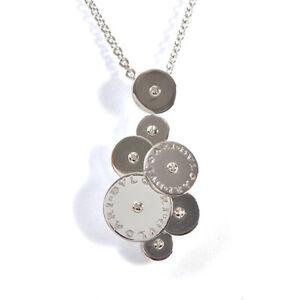 BUGARI-BVLGARI-Cicladi-Design-Chain-Pendant-Necklace-18k-White-Gold-17-7inch