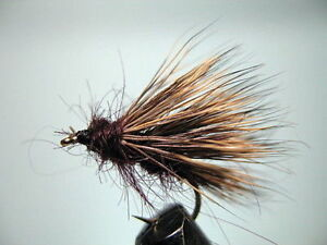 3 X BROWN SEDGE  DRY TROUT FLIES  sizes 10 16 Available 12 14